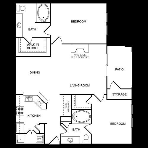 1,089 sq. ft. B3 floor plan