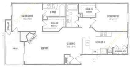 1,046 sq. ft. B3 floor plan