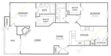 1,046 sq. ft. B3 floor plan