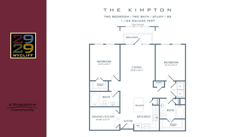 1,162 sq. ft. Kimpton floor plan