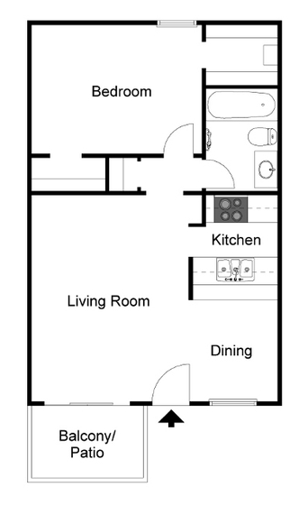 576 sq. ft. A4 floor plan