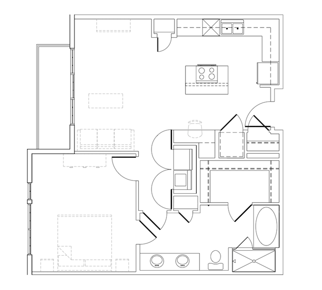 840 sq. ft. Mays floor plan