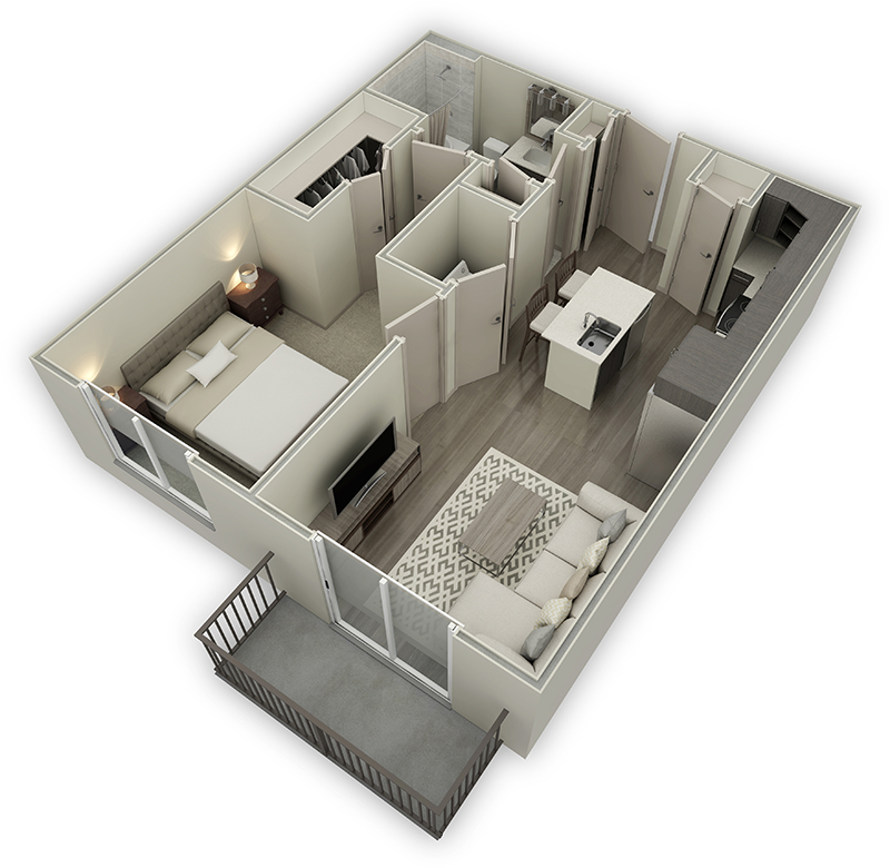 633 sq. ft. A1.2 floor plan