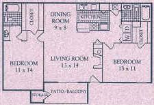 1,040 sq. ft. E floor plan
