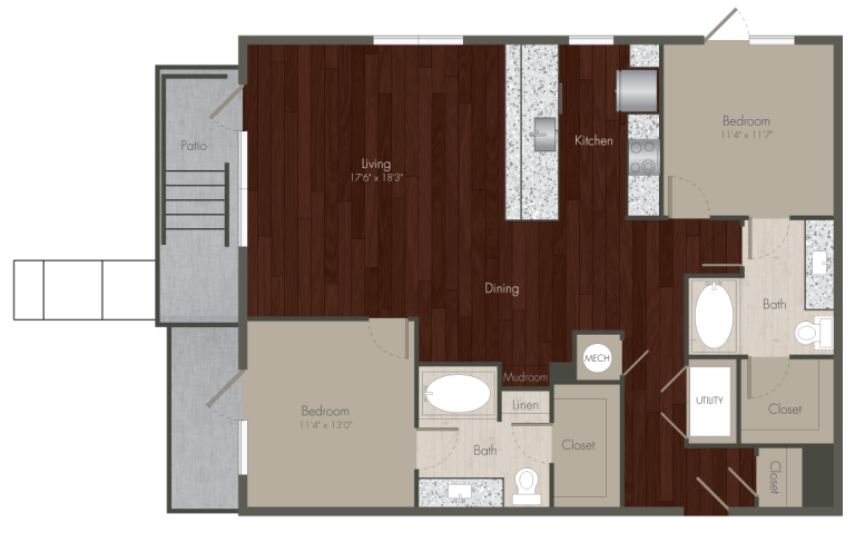 1,293 sq. ft. B1 ALT floor plan