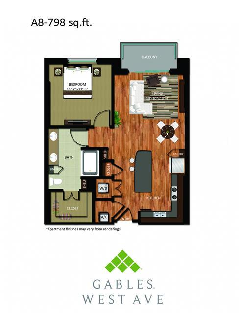 798 sq. ft. DA8 floor plan