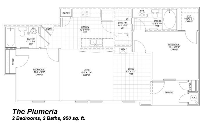 950 sq. ft. to 963 sq. ft. Plumeria 50% floor plan