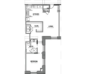 1,003 sq. ft. Unit 15-4 floor plan