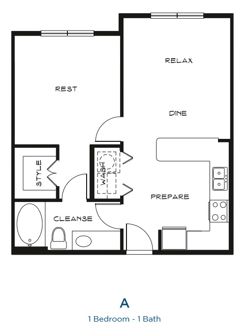 655 sq. ft. A floor plan