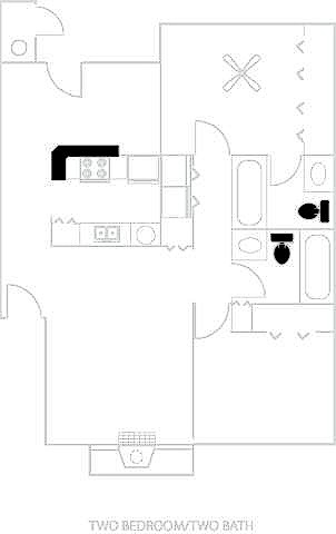 997 sq. ft. B2-B floor plan