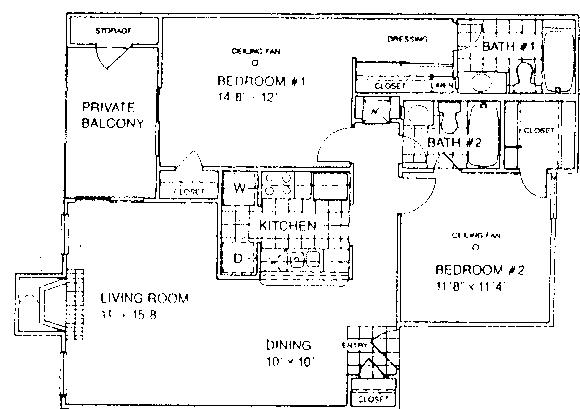 932 sq. ft. E1/60% floor plan
