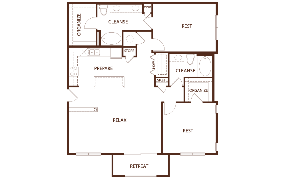 1,400 sq. ft. B2B floor plan