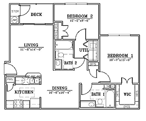 900 sq. ft. B1/60% floor plan