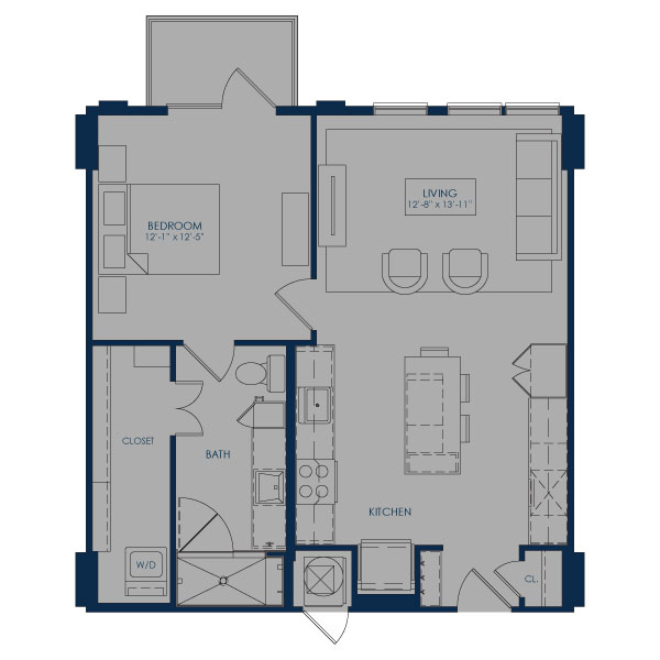 756 sq. ft. A27 floor plan