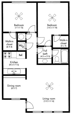 850 sq. ft. The McKinley floor plan