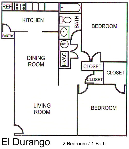 792 sq. ft. El Durango floor plan