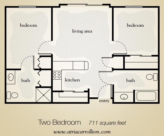 711 sq. ft. floor plan
