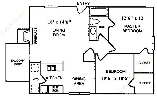 765 sq. ft. B-1 floor plan