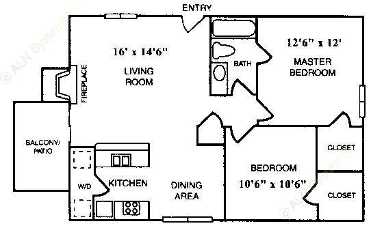 765 sq. ft. B-1 floor plan