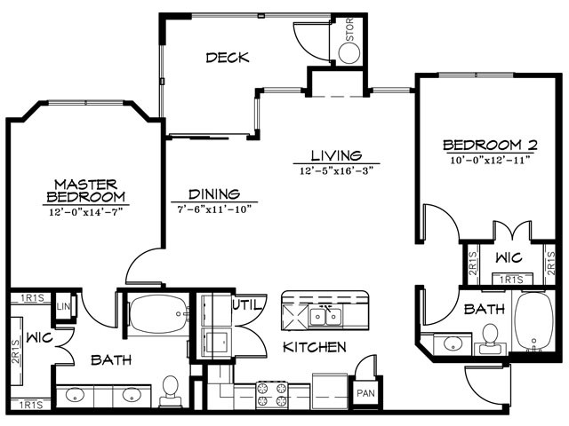 1,097 sq. ft. B2BR floor plan