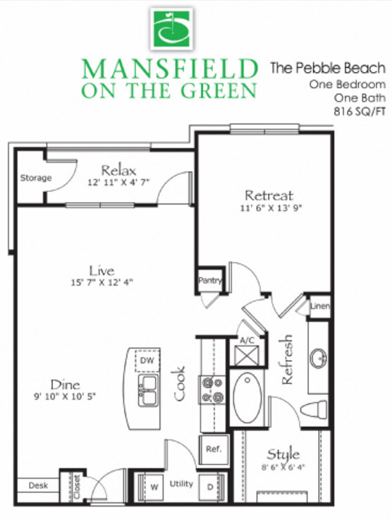 816 sq. ft. Pebble Beach floor plan