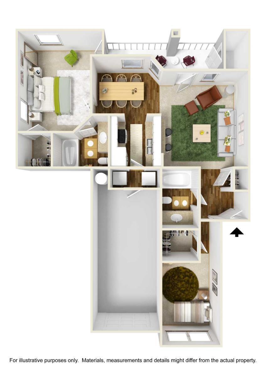 962 sq. ft. B3 floor plan