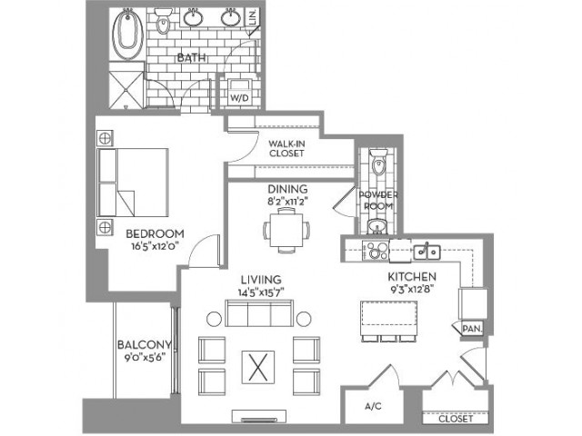 1,109 sq. ft. Douglas(A.11) floor plan