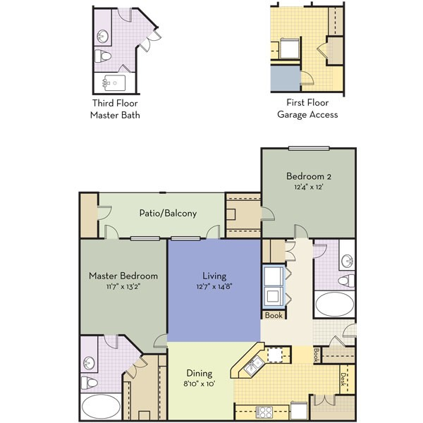 1,194 sq. ft. Belvedere floor plan