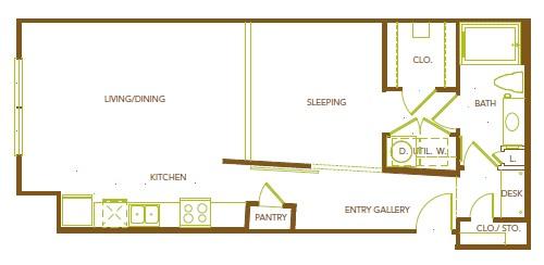 772 sq. ft. A5 floor plan