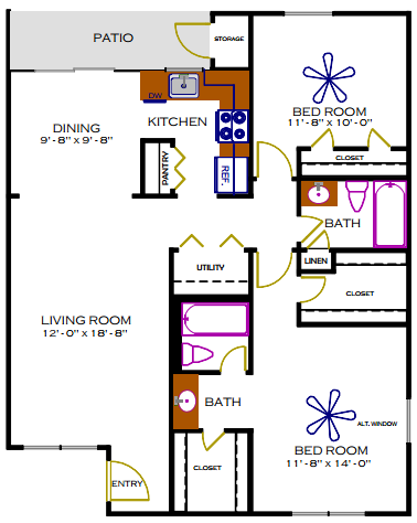 1,057 sq. ft. E/Mulberry floor plan
