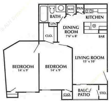 700 sq. ft. C3 floor plan