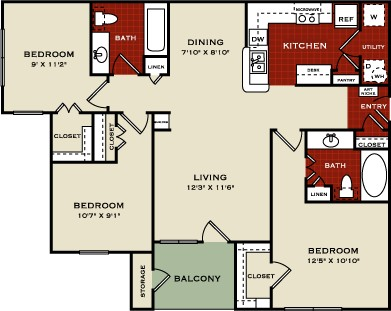 1,120 sq. ft. 60% floor plan
