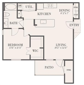 728 sq. ft. Belle Meade floor plan