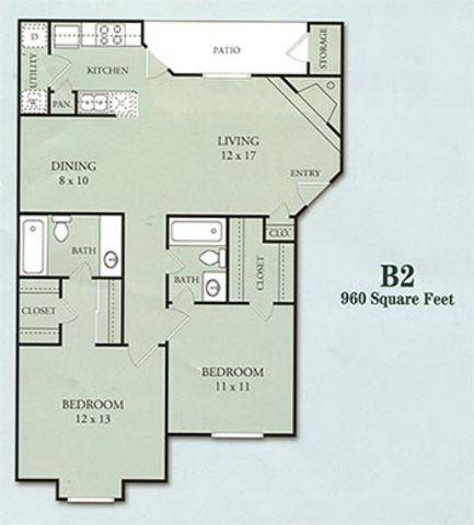 960 sq. ft. B2 floor plan