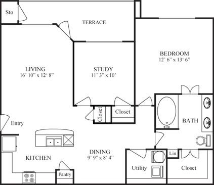 1,025 sq. ft. DE SOTO floor plan