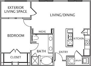 875 sq. ft. Olivia floor plan
