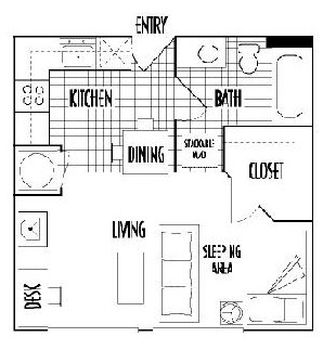 400 sq. ft. A3 floor plan