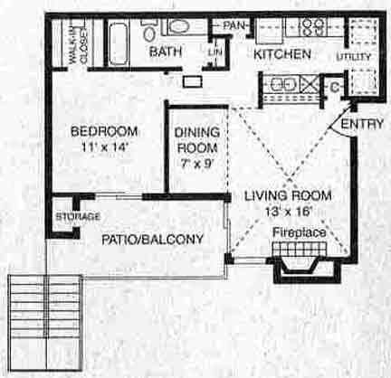 703 sq. ft. A-1 floor plan