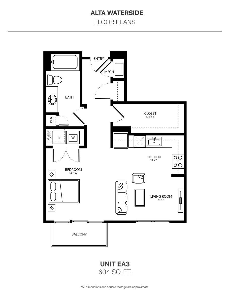 604 sq. ft. EA3 floor plan