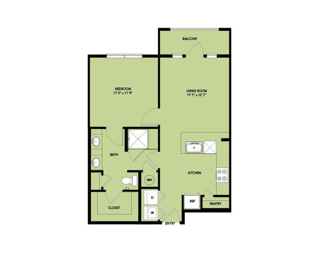 665 sq. ft. A2-S.1 floor plan