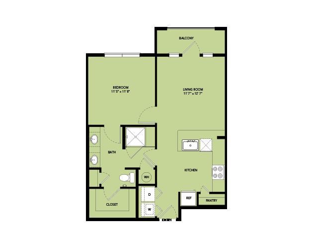 665 sq. ft. A2-I.7 floor plan