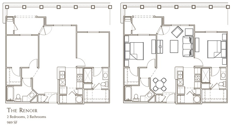 989 sq. ft. RENOIR floor plan