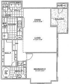 731 sq. ft. 1st FLR/60% floor plan