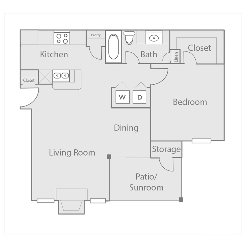 735 sq. ft. to 813 sq. ft. A3 floor plan