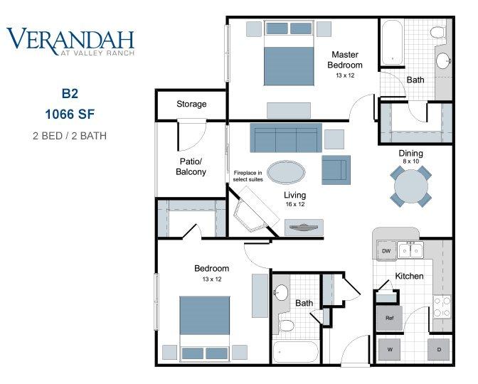 1,066 sq. ft. B2 floor plan