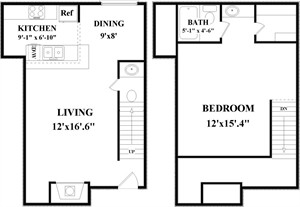 753 sq. ft. B3 floor plan