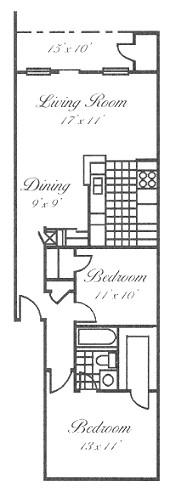 889 sq. ft. B2 floor plan