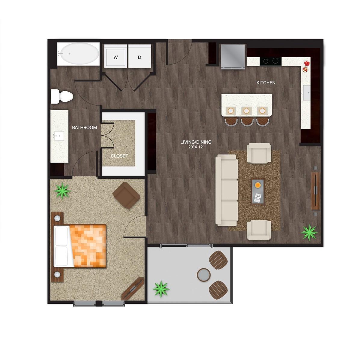 908 sq. ft. A-3A floor plan