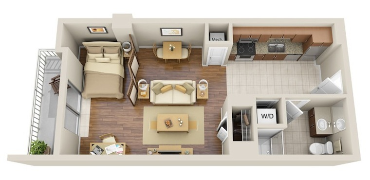 544 sq. ft. studio 2 floor plan