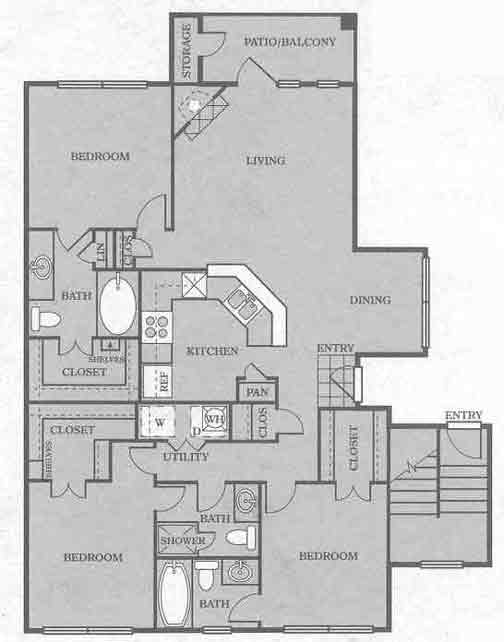 1,484 sq. ft. C2 floor plan